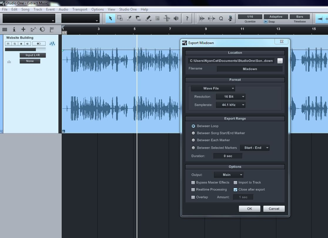 Exporting Audio in Studio One