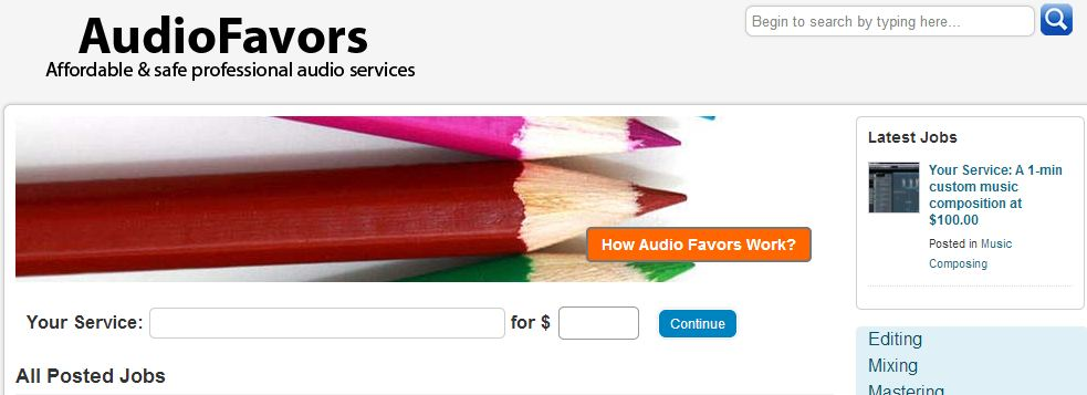 Audio Favors - Marketplace for the audio industry