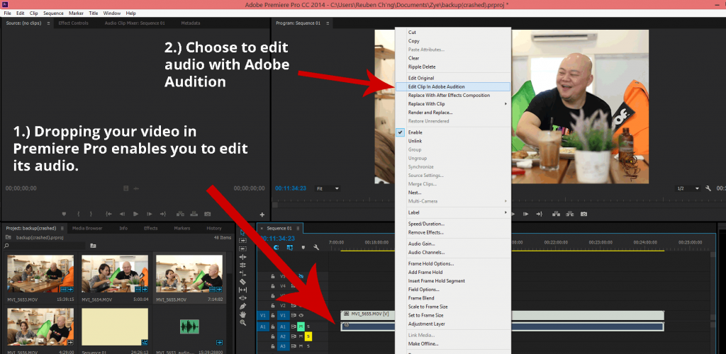 I edit my audio with adobe audition through premiere pro