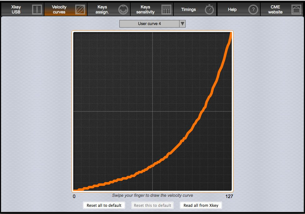 Draw your own velocity curves and program it to the CME Xkey