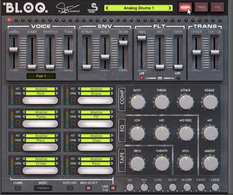 Bloq Drum Machine - Lots of tweaks can be done here