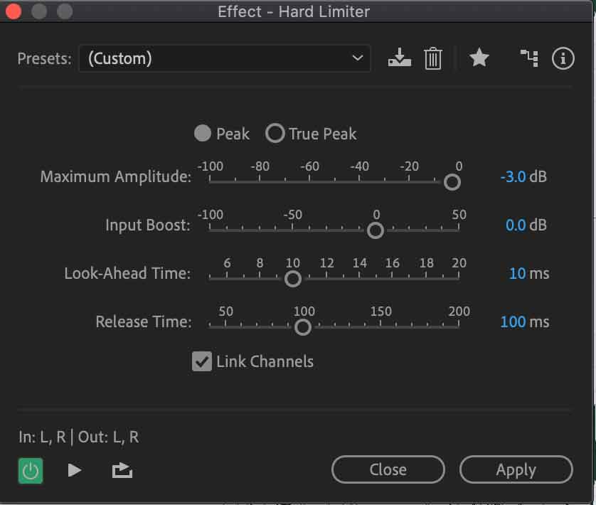 hard limiter effect in adobe audition